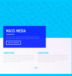 mass media concept with thin line icons vector image