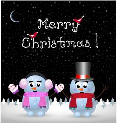 Merry christmas card of kawaii snowman and vector
