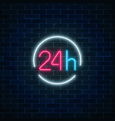 Neon open 24 hours sign in circle frame round the vector