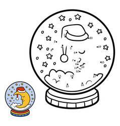 numbers game for children snowball with moon vector image