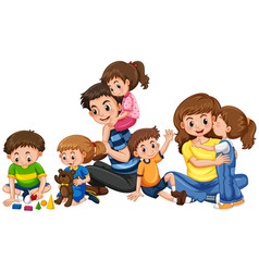 parents with five children playing vector image