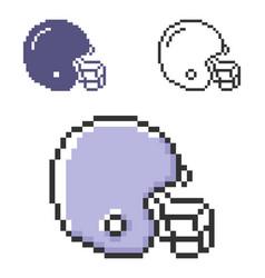 Pixel icon american football player helmet vector