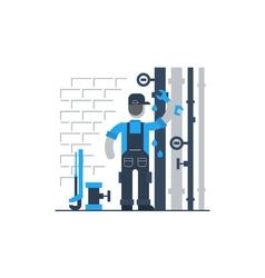 Plumber at work repairing pipes vector image