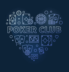 poker club heart concept blue outline vector image