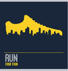 Poster - running sport shoe and the city vector
