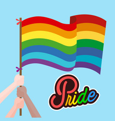 pride hand hold rainbow flag blue background vector image