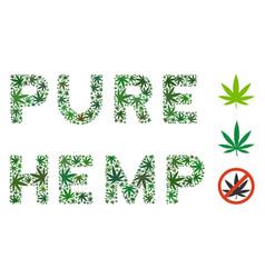 Pure hemp label mosaic hemp leaves vector