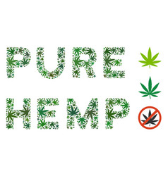pure hemp label mosaic of hemp leaves vector image