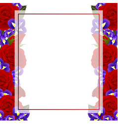 Red rose and iris flower banner card border vector