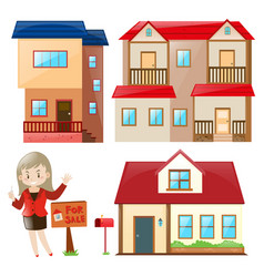 saleperson selling house and building vector image
