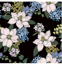 seamless pattern with graphic flowers for textile vector image
