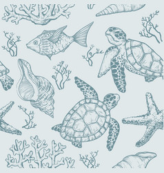 seamless pattern with shells fish corals turtle vector image