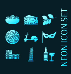 set italy blue glowing neon icons vector image