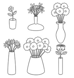 set of flower vase vector image