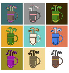 set of icons in flat design bag with clubs vector image