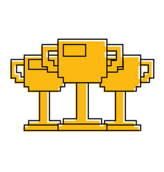 set of pixelated trophy award game vector image