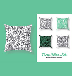 Set of throw pillows in matching unique abstract vector