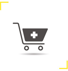 Shopping cart with medical cross icon vector