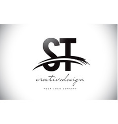 St s t letter logo design with swoosh and black vector