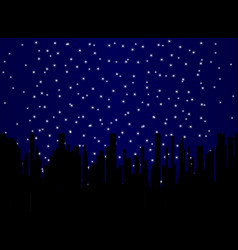 Stary night cityscape vector