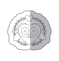 Sticker monochrome with half shadow and owl inside vector
