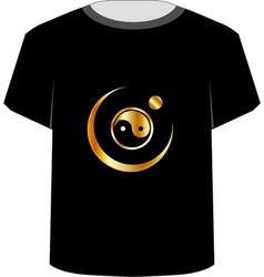 T Shirt Template- yin yang symbol vector