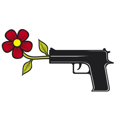 The gun shoots flowers vector