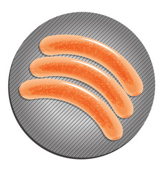 three fried sausages on the pan vector image