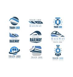 train logo original design set modern railway vector image