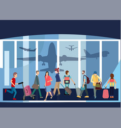 Traveler people airport hall departure terminal vector