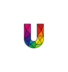 U colorful low poly letter logo icon design vector