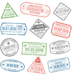 Visa travel cachet passport signs or airport vector