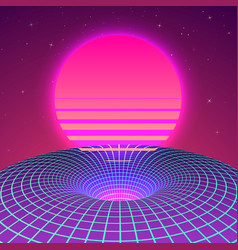 warp space - black hole in neon colors 80s vector image
