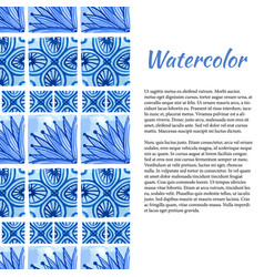 watercolor background ornament border in blue vector image