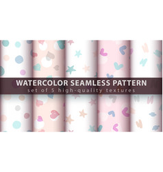 Watercolor seamless pattern set five items vector