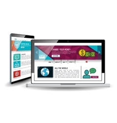 Website template in electronic devices vector