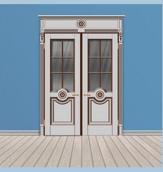 White double entrance door vector