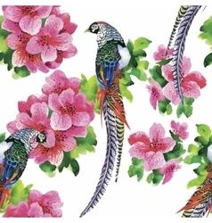 Wild Pheasant animals birds in watercolor floral vector