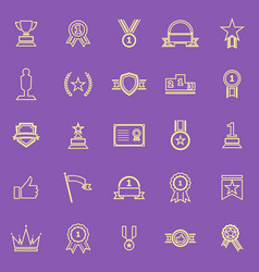 winner line color icons on purple background vector image