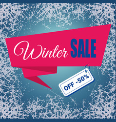 Winter sale text ribbon on ice frosted background vector