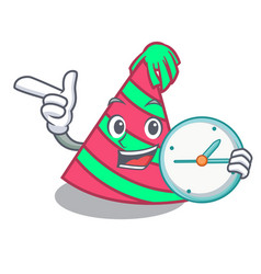 With clock party hat character cartoon vector