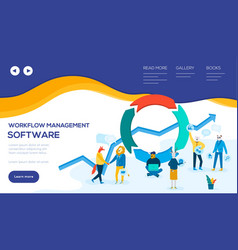 workflow management software web banner template vector image