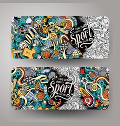 cartoon hand drawn doodles sport banners vector image vector image