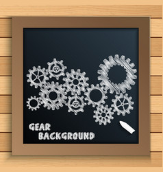 cogs and gears mechanism written by chalk on black vector image vector image