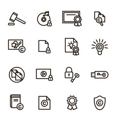 copyright signs black thin line icon set vector image