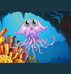 cute jellyfish under the ocean vector image