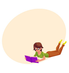 girl woman in glasses reading a book in lying vector image