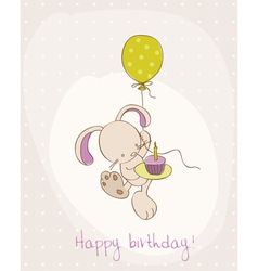 greeting birthday card with cute bunny vector image vector image