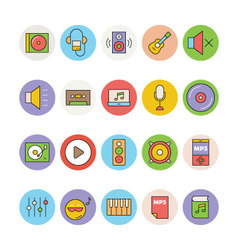 Music Colored Icons 1 vector image