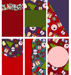 set of beautiful templates for christmas cards vector image vector image